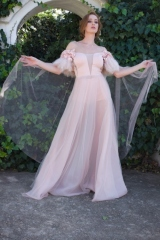 8-new-romanticsmatric-dance-dress-hire-Soft-peach-mesh-skirt-low-V-neck-bodice