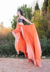 91-new-romantics-bridal-burnt-orange-chiffon-skirt-one-shoulder-sequin-top-hot-pants