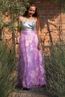 baby pink skirt with silver bodice