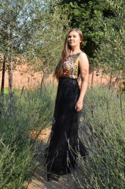 embroided floral bodice with black mesh skirt