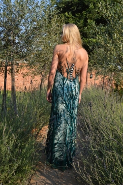 emmerald green sequin dress with low back detail