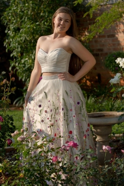 floral embroided cream skirt with pleated bodice