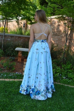 full floral satin skirt with open back top.