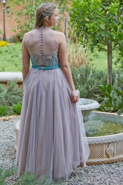 full nude mesh skirt with turquise beaded top