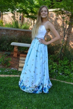 full satin skirt with white pleared satin top.