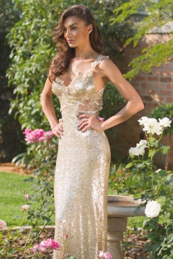 gold sequin dress with lace detail