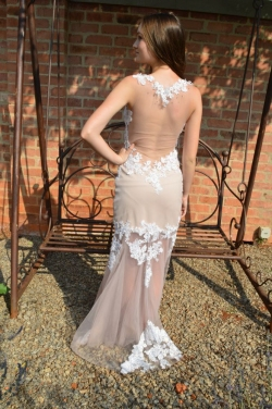 nude fitted dress with open back