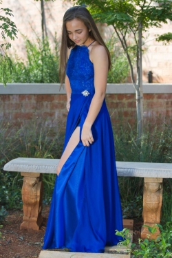 royal blue high neck bodice with satin and chiffon skirt