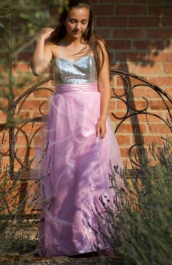 soft pink mesh skirt with silver sequin bodice