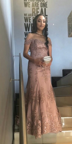 New Romantics Claudelle Harris from St Catherines Convent school. Dusty pink off shoulder fit flare lace dress 2
