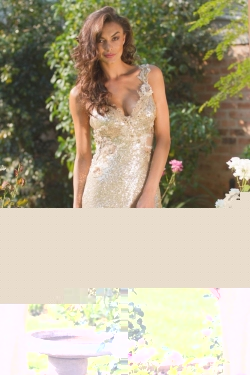 fitted gold sequin dress
