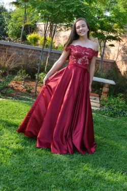 full burgandy satin skirt with of shoulder lace top