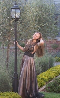 full gold satin skirt with black mesh and lace bodice