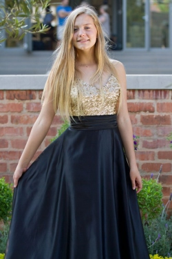 gold sequin bodice with full black satin skirt