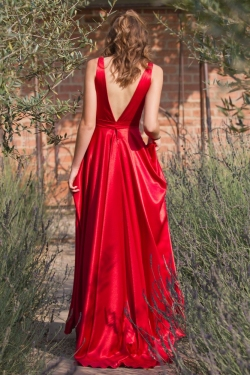 low v back red satin dress