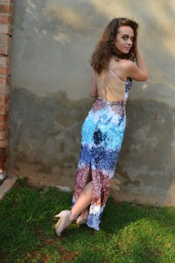 multi colour sequin dress with low back