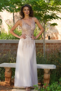 nude colour line beaded bodice with semi fitted skirt