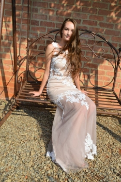 nude fitted dress with mesh skirt and lace detail
