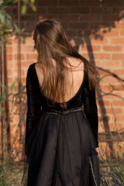 open back black velvet dress
