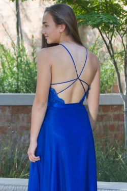 royal blue satin and chiffon dress with open back